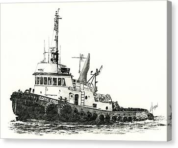 Tugboat Edith Foss Canvas Print by James Williamson