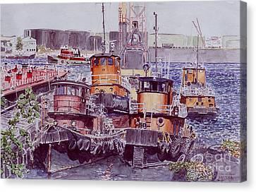 Tugboats Kill Van Kull Staten Island Canvas Print by Anthony Butera