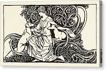 The Beautiful Irish Girl Canvas Print - Tuiren With Bran And Sceolan From The Birth Of Bran by Arthur Rackham