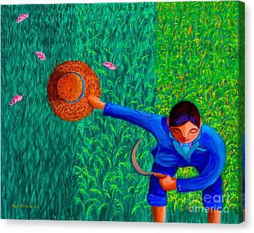 Tularan Ang Palay Canvas Print by Paul Hilario
