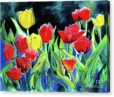 Canvas Print featuring the painting Tulip Bed At Dark by Kathy Braud