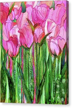 Canvas Print featuring the mixed media Tulip Bloomies 1 - Pink by Carol Cavalaris