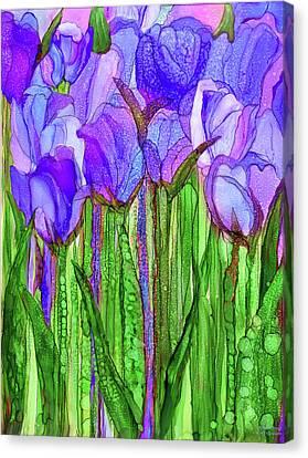 Canvas Print featuring the mixed media Tulip Bloomies 1 - Purple by Carol Cavalaris