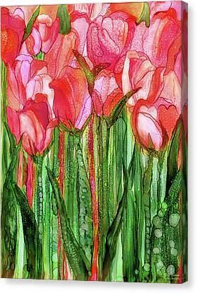 Canvas Print featuring the mixed media Tulip Bloomies 1 - Red by Carol Cavalaris