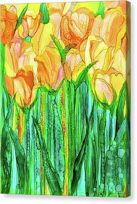 Canvas Print featuring the mixed media Tulip Bloomies 1 - Yellow by Carol Cavalaris