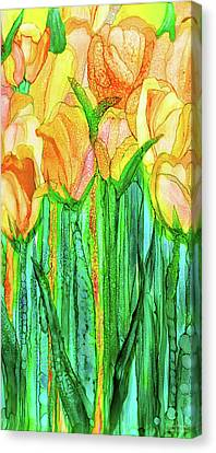 Canvas Print featuring the mixed media Tulip Bloomies 2 - Yellow by Carol Cavalaris