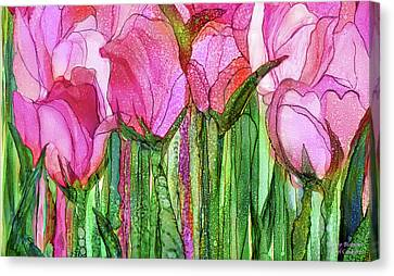 Canvas Print featuring the mixed media Tulip Bloomies 3 - Pink by Carol Cavalaris