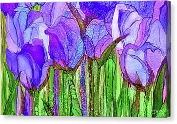 Canvas Print featuring the mixed media Tulip Bloomies 3 - Purple by Carol Cavalaris