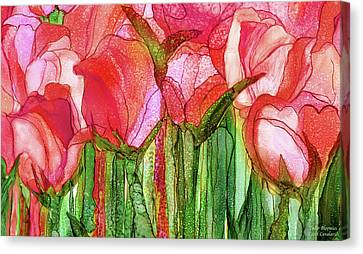 Canvas Print featuring the mixed media Tulip Bloomies 3 - Red by Carol Cavalaris