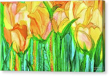 Canvas Print featuring the mixed media Tulip Bloomies 3 - Yellow by Carol Cavalaris