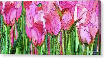 Canvas Print featuring the mixed media Tulip Bloomies 4 - Pink by Carol Cavalaris