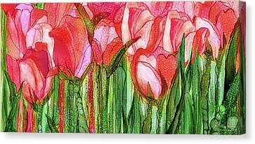 Canvas Print featuring the mixed media Tulip Bloomies 4 - Red by Carol Cavalaris