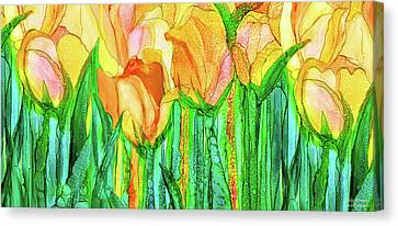 Canvas Print featuring the mixed media Tulip Bloomies 4 - Yellow by Carol Cavalaris