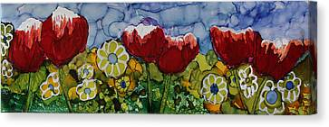 Canvas Print featuring the painting Tulip Bonanza by Suzanne Canner