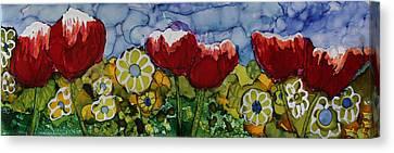 Tulip Bonanza Canvas Print by Suzanne Canner