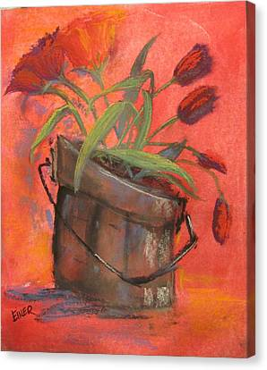 Tulip Bucket Canvas Print by Terri Einer