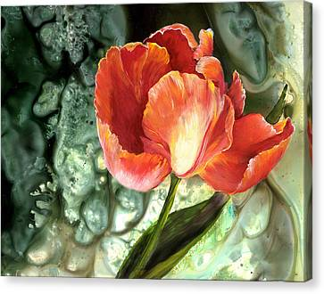 Canvas Print featuring the painting Tulip Dance by Sherry Shipley