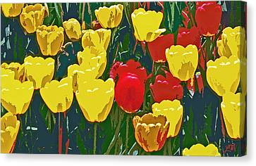 Tulip Flower Garden Abstract Two Canvas Print by Linda Mears