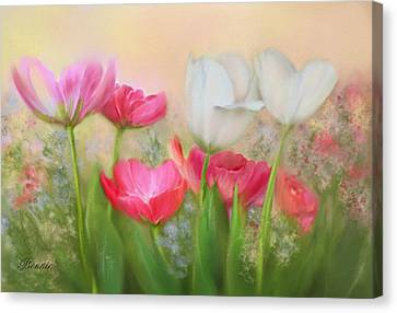 Canvas Print featuring the painting Tulip Garden by Bonnie Willis