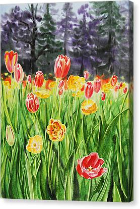 Canvas Print featuring the painting Tulip Garden In San Francisco by Irina Sztukowski
