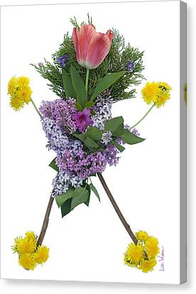 Canvas Print featuring the digital art Tulip Head by Lise Winne