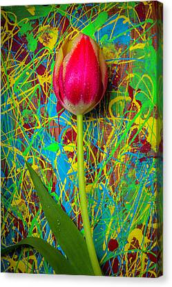 Wooden Box Canvas Print - Tulip In Painted Box by Garry Gay
