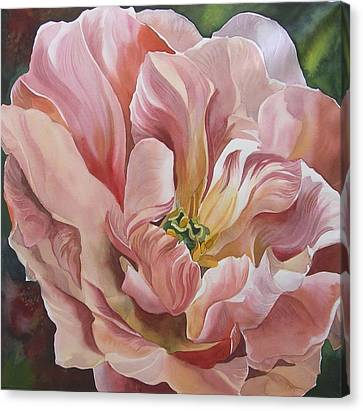 Canvas Print featuring the painting Tulip In Pink by Alfred Ng