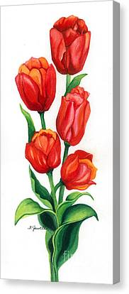 Canvas Print featuring the painting Tulip Time by Barbara Jewell
