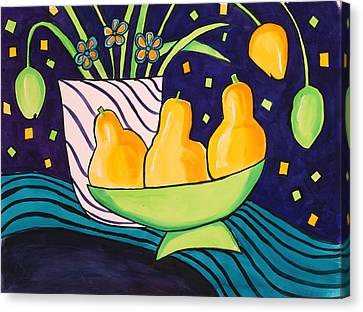 Tulips And 3 Yellow Pears Canvas Print by Carrie Allbritton