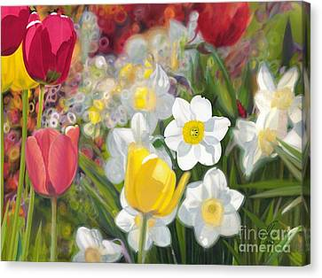 Tulips And Daffodils Canvas Print by Nicole Shaw