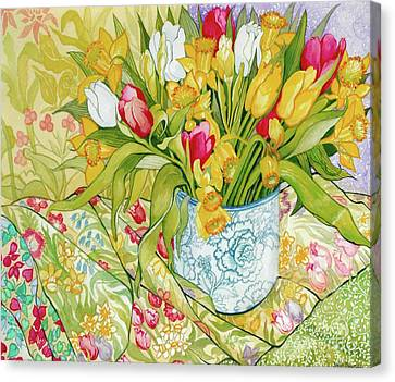 Tulips And Daffodils With Patterned Textiles Canvas Print by Joan Thewsey