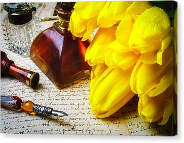Glass Bottle Canvas Print - Tulips And Ink Well by Garry Gay