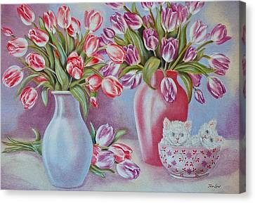 Tulips And Kittens Canvas Print by Jan Law