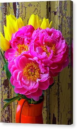 Old Pitcher Canvas Print - Tulips And Peony's by Garry Gay