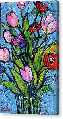 Tulips And Poppies - Impasto Palette Knife Oil Painting Canvas Print