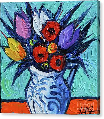 Tulips And Poppies Mini Still Life Canvas Print by Mona Edulesco