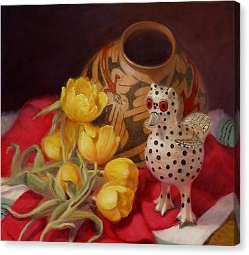Canvas Print featuring the painting Tulips And Pottery by Donelli  DiMaria