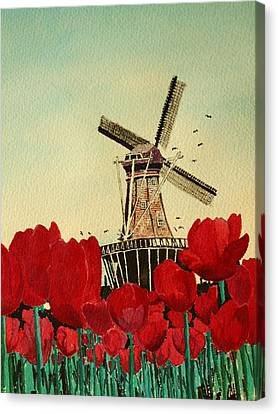 Tulips And Windmill Canvas Print by Diane Merkle