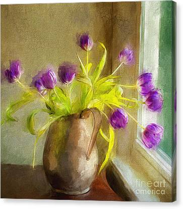 Canvas Print featuring the mixed media Tulips Arrayed by Terry Rowe