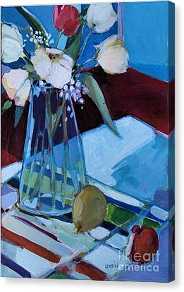 Canvas Print featuring the painting Tulips by Diane Ursin