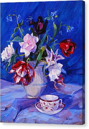 Tulips From My Garden Canvas Print by Sue Wales