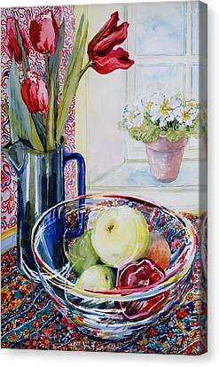 Tulips In A Jug With A Glass Bowl Canvas Print by Joan Thewsey