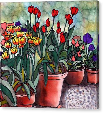 Tulips In Clay Pots Canvas Print by Linda Marcille