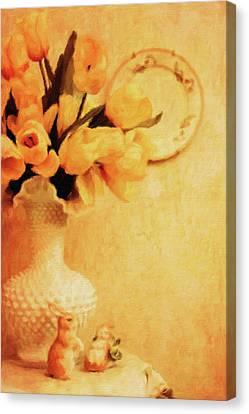 Tulips In Fenton Vase Canvas Print