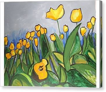 Canvas Print featuring the painting Tulips In Springtime by Esther Newman-Cohen