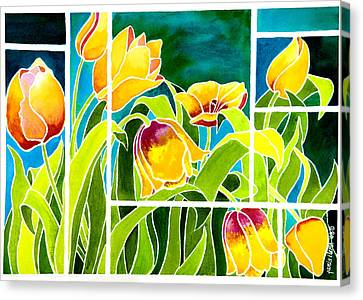 Tulips In Stained Glass Canvas Print by Janis Grau