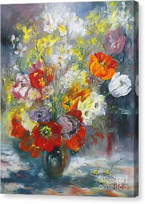 Tulips, Narcissus And Forsythia Canvas Print
