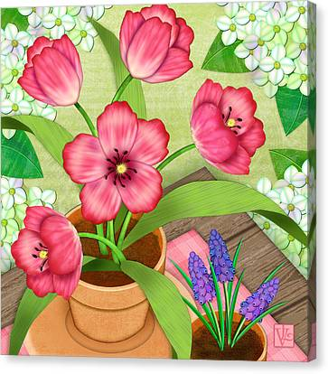 Tulips On A Spring Day Canvas Print by Valerie Drake Lesiak