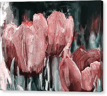 Tulips Red On Grey Canvas Print
