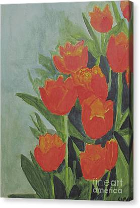 Canvas Print featuring the painting Tulips by Sandy McIntire